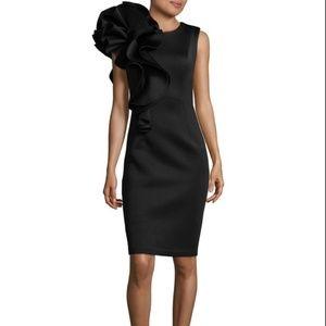 Betsy & Adam Ruffled Scuba Sheath Dress Black